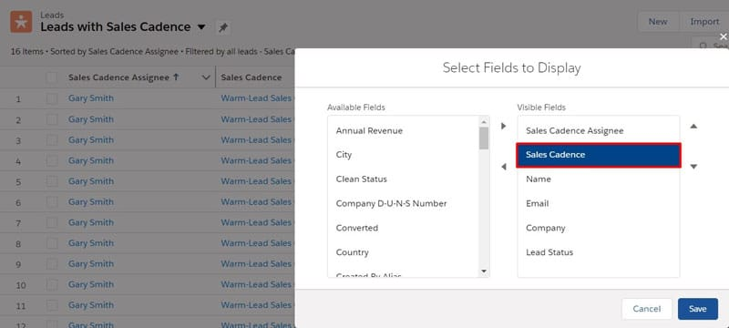 Add Sales Cadence fields to a list view to easily see which records are assigned to a Sales Cadence