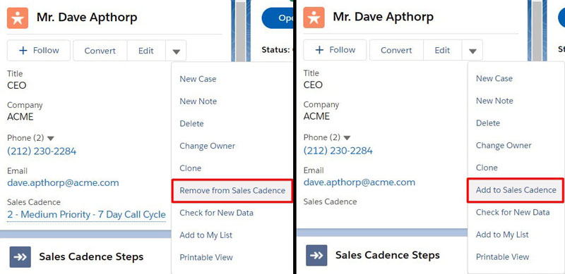 Include Sales Cadence Actions on the record compact view