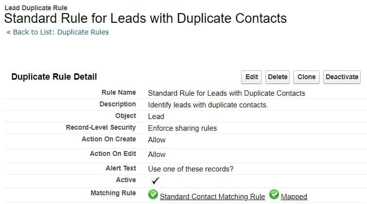 Duplicate Rules in Salesforce Lightening identify matching lead records.