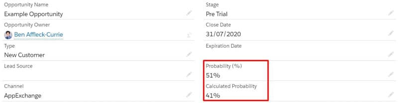 Opportunity Probability and Calculated Probability highlighted on the opportunity