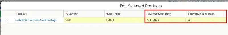 Revenue Start Date and # Revenue Schedules custom fields included in the Revenue Schedules by GSP app