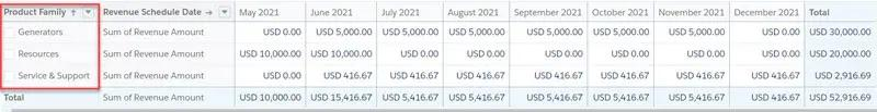 View the Revenue Schedules information in a Salesforce report